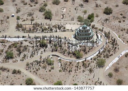 Historic structure and landmark completed in 1931 known as the Tovrea Castle sits near the Loop 202 freeway and the Phoenix/Tempe border - stock photo