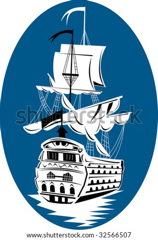 Historic tall sailing ship on blue background - stock photo