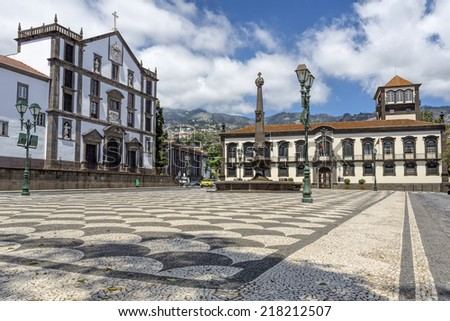 Historic town hall in Funchal, Madeira - stock photo