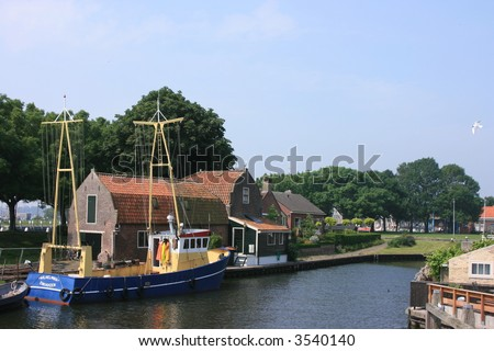 historic town of enkhuizen at north of holland - stock photo