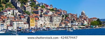 Historic UNESCO town of Sibenik panorama, Dalmatia, Croatia - stock photo