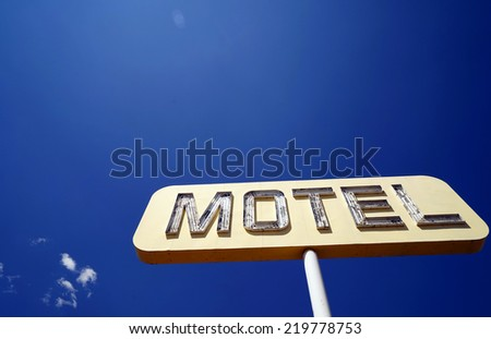 Historic vintage restaurant and gas station sign on old Route 66 in the desert, California, USA Historisches altes Restaurant und Tankstellen Schild an der Route 66 in der W�¼ste, Kalifornien, USA - stock photo