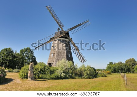 Historic Windmill in Germany - Island of Usedom - stock photo