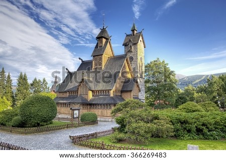 Historic wooden temple Wang in Karpacz, Poland - stock photo