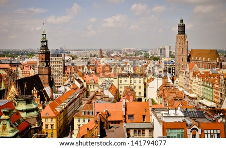 Historic Wroclaw old town. View from St. Maria Magdalene church - stock photo