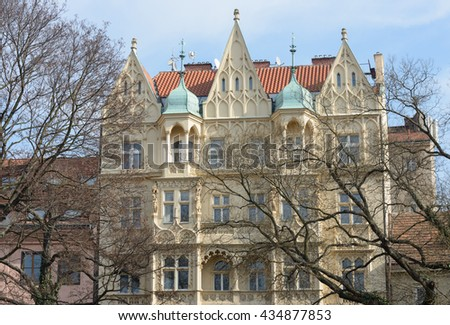 Historical apartment building designed Frantisek Jiskra and built in 1904 after complete reconstruction on Divadelni (Theatric) Street in Prague, Czech Republic. - stock photo