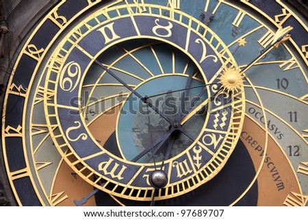 Historical astronomical Clock in Prague on Old Town Hall - stock photo