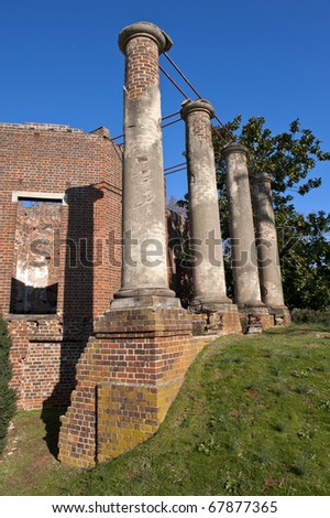 Historical brick structure, the Barboursville ruins in Virginia, a common United States tourist attraction. - stock photo