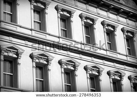 Historical building windows detail in Washington DC - stock photo