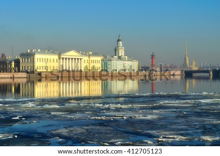 Historical buildings across the Neva river in Saint-Petersburg, Russia. Spring architectural St Petersburg landscape.  - stock photo