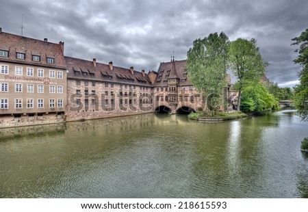 Historical buildings along the Pegnitz river in central Nuremberg, Germany - stock photo