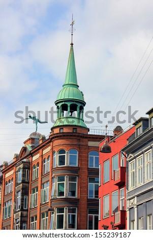 Historical buildings in the center of Copenhagen, Denmark. - stock photo