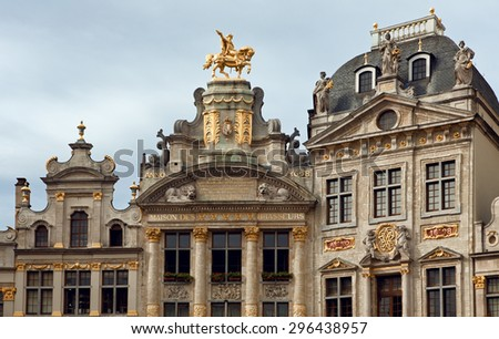 Historical buildings including Maison Des Brasseurs and Anno in Grand Place of Brussels, Belgium. - stock photo