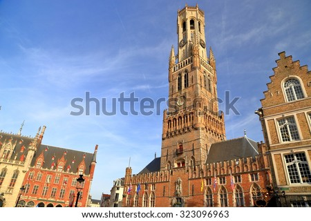 Historical buildings near the Belfry of Bruges, Belgium - stock photo