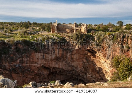 Historical Canytelis ancient city in Mersin on clear sky background - stock photo
