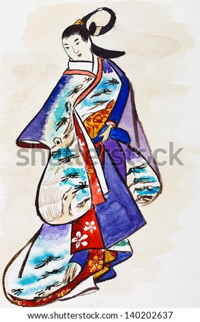 historical clothes - Japanese young woman in traditional dress stylized under print of Kaigetsudo Ando (Ando Yasunori) 14th century - stock photo