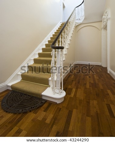 historical entrance hall with vintage staircase with beige carpet and original decor - stock photo