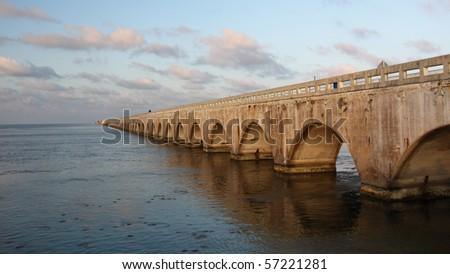 Historical  Highway bridge over Florida Keys - stock photo