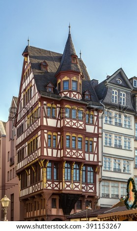 historical houses on Romerberg square, Frankfurt, Germany - stock photo