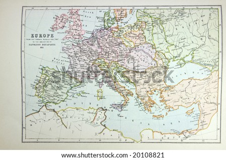 Historical map of Europe (time of Napoleon). Photo from atlas published in 1879 in Great Britain. - stock photo
