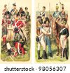 Historical military uniforms from England - 1815 (left) and Austria-Hungary - 1813 (right) / vintage illustration from Meyers Konversations-Lexikon 1897 - stock photo