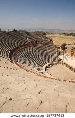 Historical Outdoor Theater at Hierapolis Turkey - stock photo