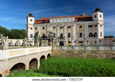 Historical renaissance castle in Milotice - stock photo