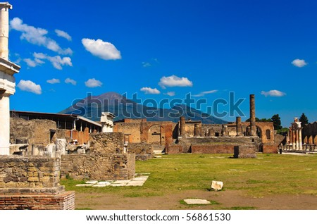 historical ruined building with the Vezuv, Pompeii - stock photo