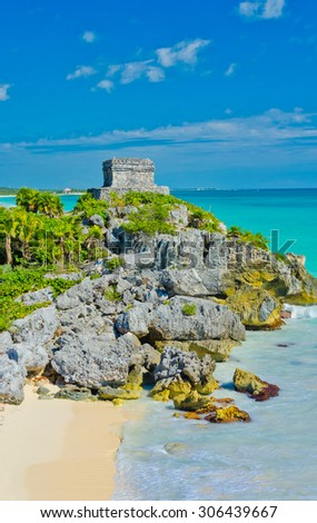Historical ruins of ancient civilization of Maya at the ocean. Tulum, Mexico. - stock photo