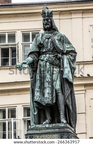 Historical statue (1848) of Charles IV (Karel IV) near Charles Bridge. Prague, Czech Republic. Charles IV - Holy Roman Emperor, was the second king of Bohemia. - stock photo