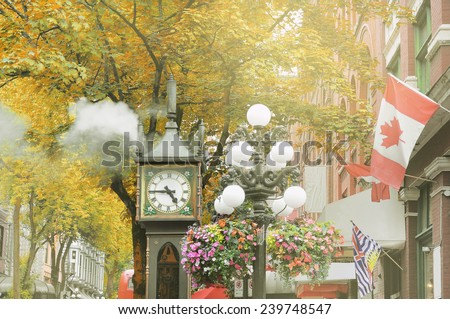 Historical steam clock in the center of Vancouver . - stock photo