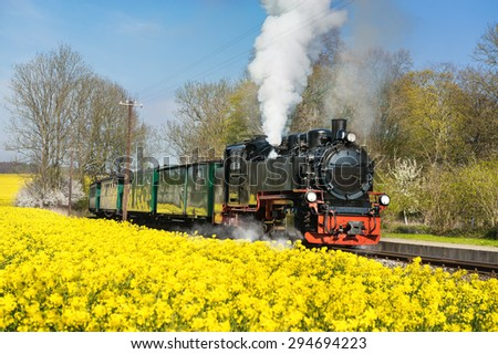 Historical steam train on island Ruegen going through rapeseed fields.  - stock photo