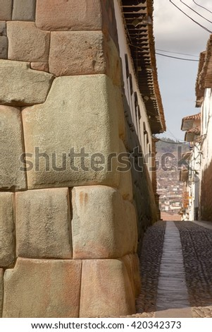Historical street of Cuzco in Peru  - stock photo