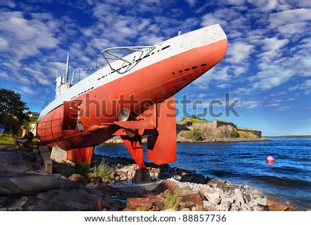 Historical submarine (with museum inside) in Suomenlinna fortress, Helsinki, Finland, UNESCO - stock photo