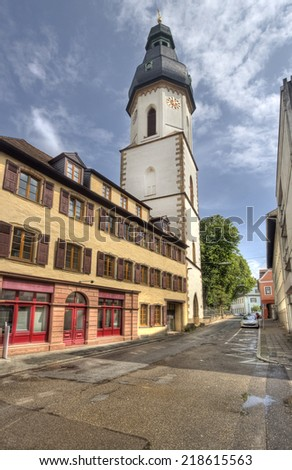 Historical tower in the old center of Speyer, Germany - stock photo