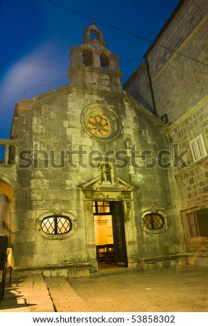 historical town Korcula, Croatia, by night - stock photo