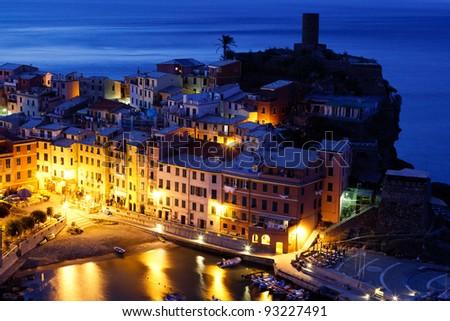 Historical Village Vernazza in the Night, Cinque Terre, Italy - stock photo