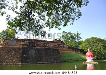 History fortress chiang mai Thailand lantern. Preparation of Thai Lantern Festival Roy-kla-thong. Of Chiang Mai, Thailand. - stock photo