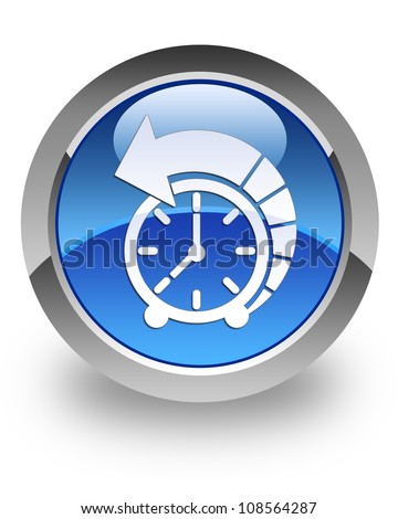 History icon on glossy blue round button - stock photo