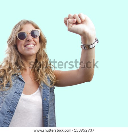 histrionic woman laughting - stock photo