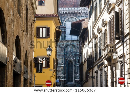 Histroical Houses Facades in Florence, Italy - stock photo