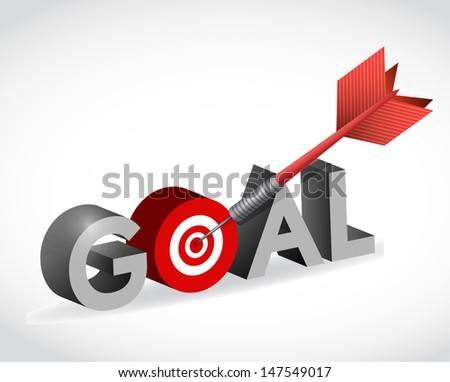 hit your target goal. illustration design over white - stock photo