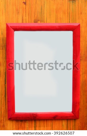 hite Frame with bamboo on stripe background - stock photo