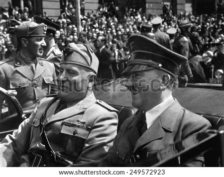 Hitler and Mussolini in Munich, Germany, June 18, 1940. Hitler was at a high point, as his army accomplished a string of victories and was completing its conquest of continental Western Europe. - stock photo