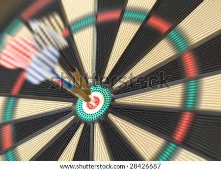 hitting bulls-eye - stock photo