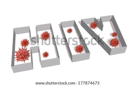 hiv virus name 3d - stock photo