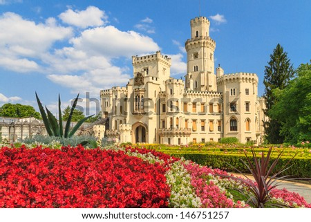Hlubok���¡ nad Vltavou (in German Frauenberg) palace, Czech Republic - stock photo