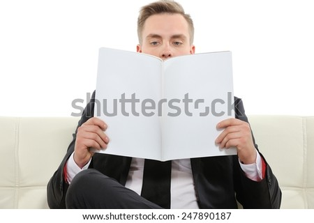 Hmm I can't find anything useful in this magazine. Copy space on the magazine is for your text.  - stock photo