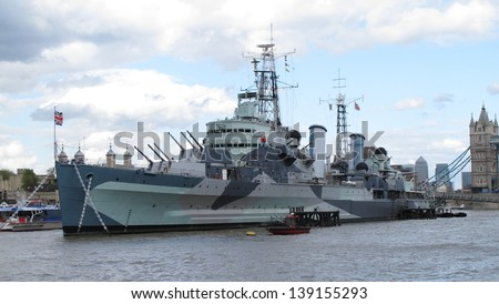 HMS Belfast London uk - stock photo