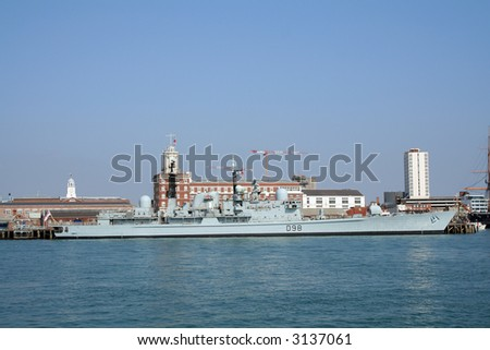 HMS York (D98) type 42 destroyer of the Royal Navy berthed in Portsmouth harbour - stock photo